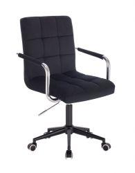 Kosmetická židle VERONA VELUR na černé podstavě s kolečky - černá