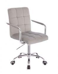 Kosmetická židle VERONA VELUR na stříbrné podstavě s kolečky - světle šedá