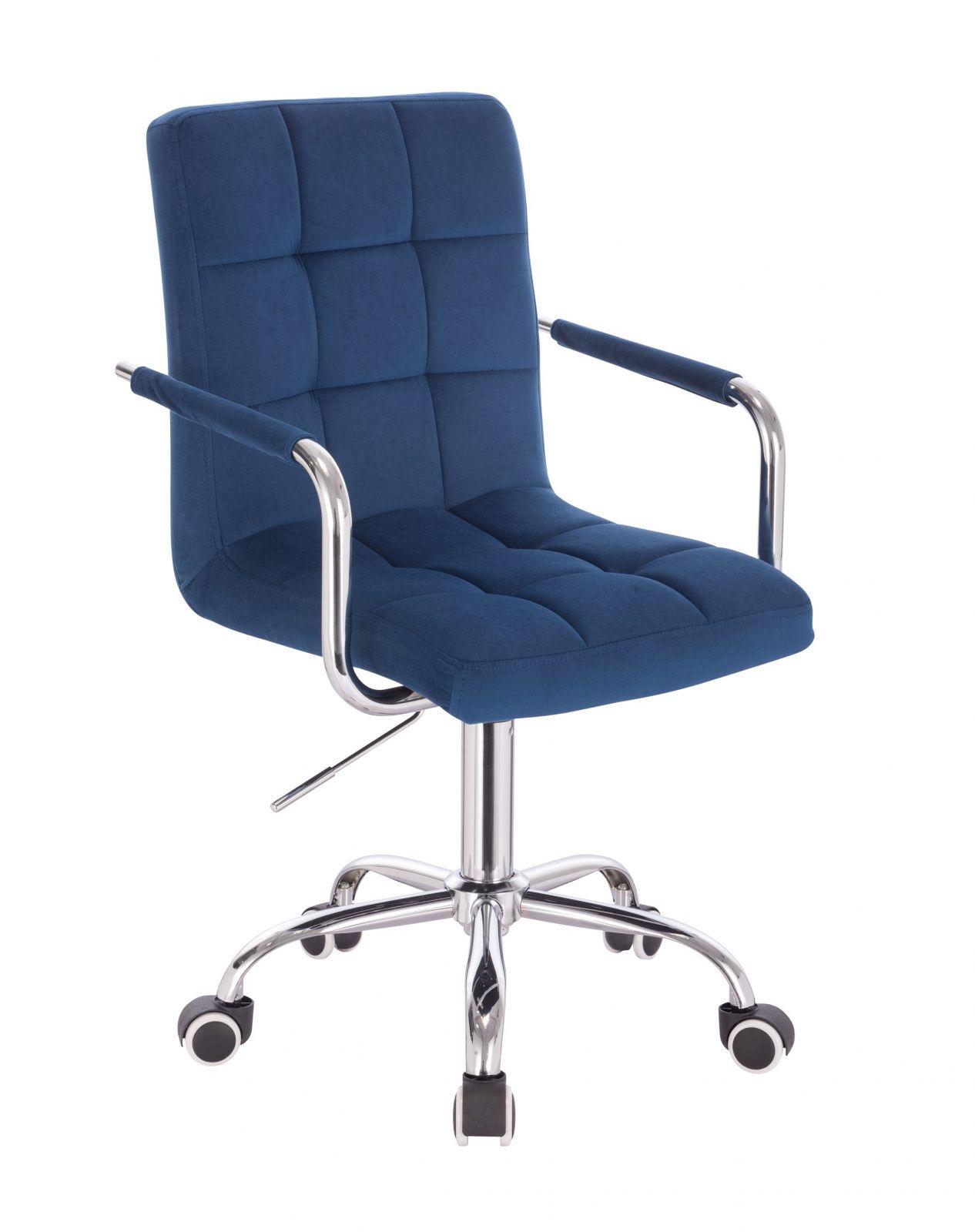 Kosmetická židle VERONA VELUR na stříbrné podstavě s kolečky - modrá