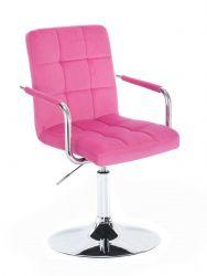 Kosmetická židle VERONA VELUR na stříbrném talíři - růžová