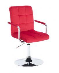 Kosmetická židle VERONA VELUR na stříbrném talíři - červená