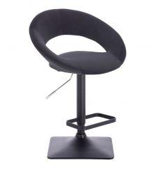 Barová židle NAPOLI VELUR na černé podstavě - černá