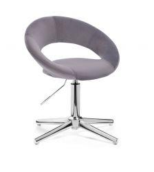 Kosmetická židle NAPOLI VELUR na stříbrném kříži - tmavě šedá