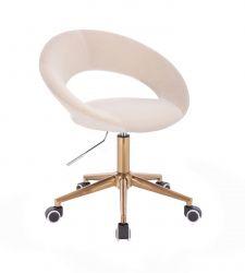 Kosmetická židle NAPOLI VELUR na zlaté podstavě s kolečky - krémová