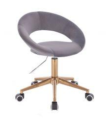 Kosmetická židle NAPOLI VELUR na zlaté podstavě s kolečky - tmavě šedá