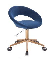 Kosmetická židle NAPOLI VELUR na zlaté podstavě s kolečky - modrá