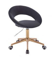 Kosmetická židle NAPOLI VELUR na zlaté podstavě s kolečky - černá