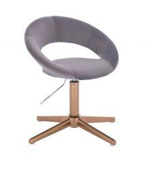 Kosmetická židle NAPOLI VELUR na zlatém kříži - tmavě šedá