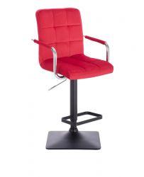 Barová židle VERONA VELUR na černé základně - červená
