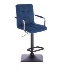 Barová židle VERONA VELUR na černé základně - modrá