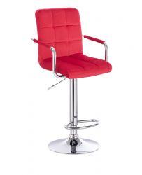 Barová židle VERONA VELUR na stříbrném talíři - červená