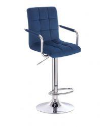 Barová židle VERONA VELUR na stříbrném talíři - modrá