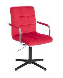 Kosmetická židle VERONA VELUR na černém kříži - červená