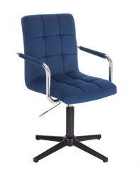 Kosmetická židle VERONA VELUR na černém kříži - modrá