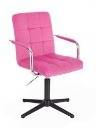 Kosmetická židle VERONA VELUR na černém kříži - růžová