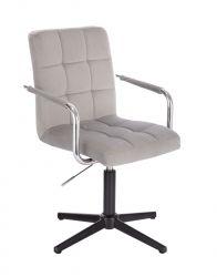 Kosmetická židle VERONA VELUR na černém kříži - světle šedá