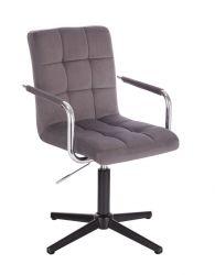 Kosmetická židle VERONA VELUR na černém kříži - tmavě šedá