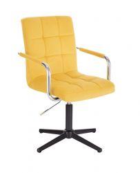 Kosmetická židle VERONA VELUR na černém kříži - žlutá