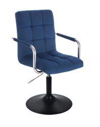 Kosmetická židle VERONA VELUR na černém talíři - modrá