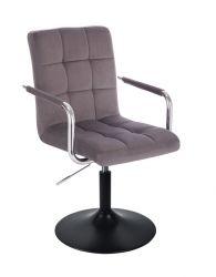 Kosmetická židle VERONA VELUR na černém talíři - tmavě šedá