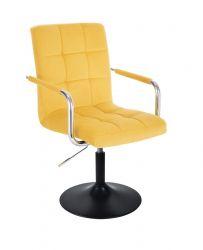 Kosmetická židle VERONA VELUR na černém talíři - žlutá