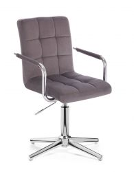 Kosmetická židle VERONA VELUR na stříbrném kříži - tmavě šedá