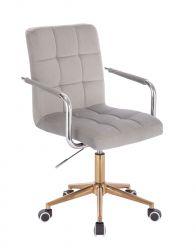 Kosmetická židle VERONA VELUR na zlaté podstavě s kolečky - světle šedá