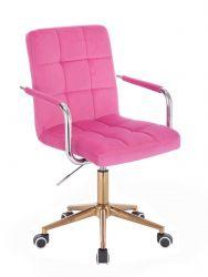 Kosmetická židle VERONA VELUR na zlaté podstavě s kolečky - růžová