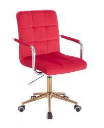 Kosmetická židle VERONA VELUR na zlaté podstavě s kolečky - červená