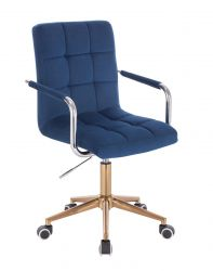 Kosmetická židle VERONA VELUR na zlaté podstavě s kolečky - modrá