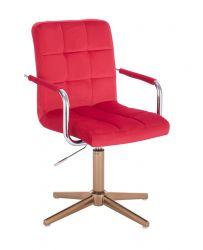 Kosmetická židle VERONA VELUR na zlatém kříži - červená