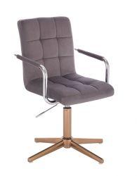 Kosmetická židle VERONA VELUR na zlatém kříži - tmavě šedá