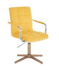 Kosmetická židle VERONA VELUR na zlatém kříži - žlutá