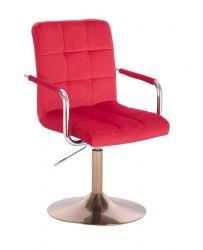 Kosmetická židle VERONA VELUR na zlatém talíři - červená