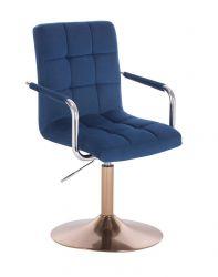 Kosmetická židle VERONA VELUR na zlatém talíři - modrá