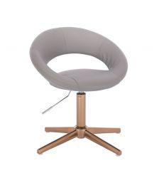 Kosmetická židle NAPOLI na zlatém kříži - šedá