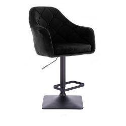 Barová židle ANDORA VELUR na černé podstavě - černá