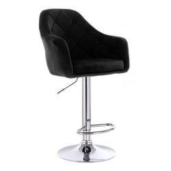 Barová židle ANDORA VELUR na stříbrném talíři - černá
