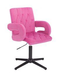 Kosmetická židle BOSTON VELUR na černém kříži - růžová