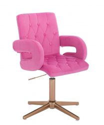 Kosmetická židle BOSTON VELUR na zlatém kříži - růžová