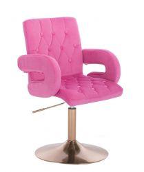 Kosmetická židle BOSTON VELUR na zlatém talíři- růžová