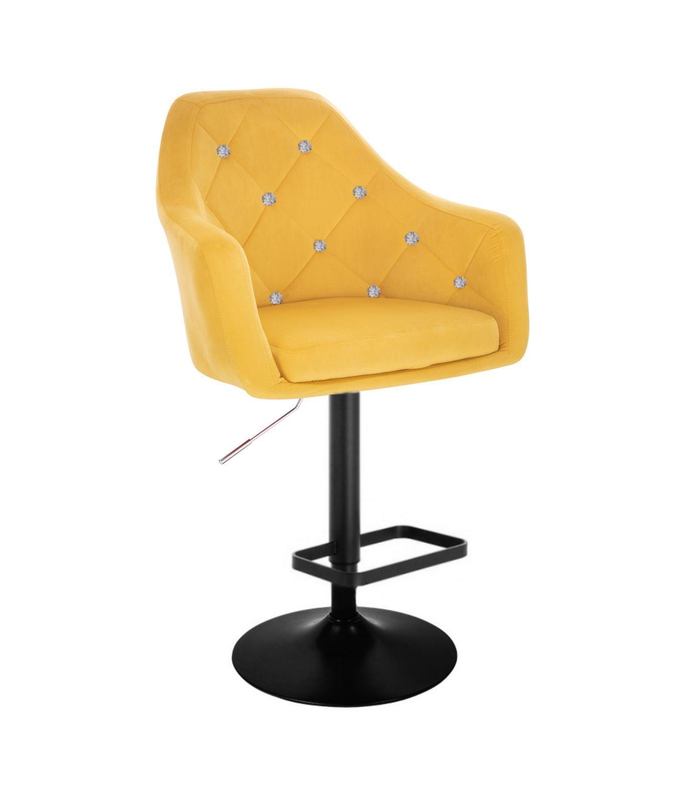 Barová židle ROMA VELUR na černém talíři - žlutá