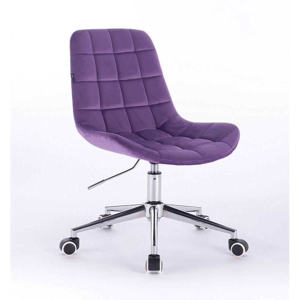 Kosmetická židle HR590K na kolčkách velurová fialová
