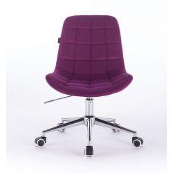 Kosmetická židle na kolečkách HR590K velurová fuchsiová