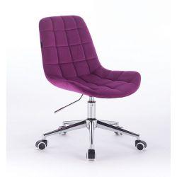 Kosmetická židle na kolečkách HR590K velurová fuchsiová (V)