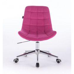 Kosmetická židle HR590K na kolečkách velurová malinová