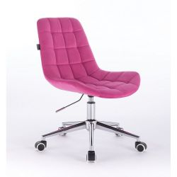 Kosmetická židle HR590K na kolečkách velurová malinová (V)