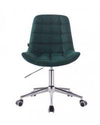 Kosmetická židle na kolečkách HR590K velurová tmavě zelená