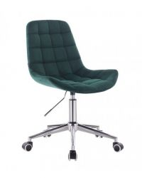 Kosmetická židle na kolečkách HR590K velurová tmavě zelená (V)