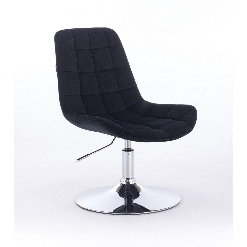 Židle na kulaté podstavě HR590N velur - černá